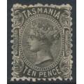 AUSTRALIA / TAS - 1870 10d black Queen Victoria, perf. 12:12, '10' watermark, MH – SG # 131