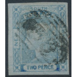 AUSTRALIA / NSW - 1851 2d chalky blue Laureates, imperf., plate I, used – SG # 53