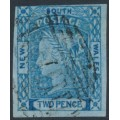 AUSTRALIA / NSW - 1851 2d Prussian blue Laureates, imperf., plate I (worn plate), used – SG # 57