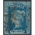 AUSTRALIA / NSW - 1854 2d Prussian blue Laureates, imperf., '2' watermark, used – SG # 85