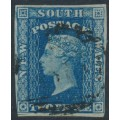 AUSTRALIA / NSW - 1856 2d blue Diadem, imperf., '2' watermark, used – SG # 112