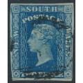 AUSTRALIA / NSW - 1856 2d blue Diadem, imperf., '2' watermark, used – SG # 112