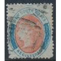 AUSTRALIA / NSW - 1862 6d red/blue REGISTERED, perf. 13:13, no watermark, used – SG # 124