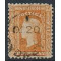 AUSTRALIA / NSW - 1860 1d orange-red Diadem, perf. 12:12, '1' watermark, used – SG # 131