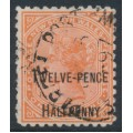 AUSTRALIA / NSW - 1891 12½d on 1/- red Queen Victoria, perf. 11:11, used – SG # 268b
