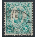AUSTRALIA / NSW - 1905 2/6 blue-green Lyrebird, perf. 12:11½, crown A watermark, used – SG # 349