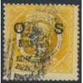 AUSTRALIA / NSW - 1885 8d yellow Diadem, perf. 12:12, crown NSW watermark, o/p OS, used – SG # O32a