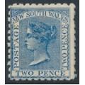 AUSTRALIA / NSW - 1882 2d Prussian blue QV, perf. 10:10, crown NSW watermark, MNH – SG # 225