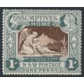 AUSTRALIA / NSW - 1897 1d (1/-) green/brown Consumptives' Home, MH – SG # 280