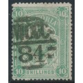 AUSTRALIA / VIC - 1886 10/- grey-green STAMP DUTY, perf. 12½:12½, V crown watermark, used – SG # 272a