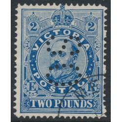 AUSTRALIA / VIC - 1902 £2 deep blue KEVII, perf. 12½:12½, V crown watermark, perf. OS, CTO – SG # 400