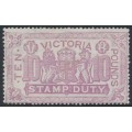 AUSTRALIA / VIC - 1884 £10 mauve Coat of Arms Stamp Duty, perf. 12½:12½, V crown watermark, used – SG # 279