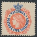 AUSTRALIA / VIC - 1907 5/- scarlet-red/deep blue QV, perf. 12½, crown A watermark, MH – SG # 430