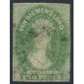 AUSTRALIA / TAS - 1857 2d yellow-green Chalon, imperf., '2' watermark, used – SG # 32