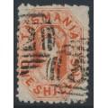 AUSTRALIA / TAS - 1875 1/- orange-red Chalon, perf. 11½:11½, '12' watermark, used – SG # 141