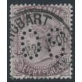 AUSTRALIA / TAS - 1878 8d dull purple-brown QV, perf. 14:14, 'TAS' watermark, perf. OS, used – SG # 158