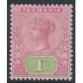 AUSTRALIA / TAS - 1892 1/- rose/green Queen Victoria tablet, mint hinged – SG # 221