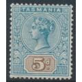 AUSTRALIA / TAS - 1892 5d blue/brown Queen Victoria tablet, mint hinged – SG # 218