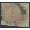 AUSTRALIA / WA - 1855 1/- pale brown Swan, imperforate with swan watermark, used – SG # 4c