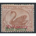 AUSTRALIA / WA - 1895 ½d on 3d brown Swan, crown CA watermark, red and green overprints, MH – SG # 111b