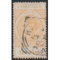AUSTRALIA / SA - 1902 10d dull orange-buff Long Tom, thin POSTAGE, crown SA watermark, used – SG # 274