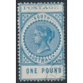 AUSTRALIA / SA - 1902 £1 blue Long Tom, thin POSTAGE, crown SA watermark, CTO – SG # 279