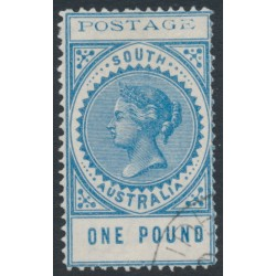 AUSTRALIA / SA - 1902 £1 blue Long Tom, thin POSTAGE, crown SA watermark, CTO – SG # 279