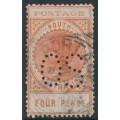 AUSTRALIA / SA - 1903 4d orange-red Long Tom, thin POSTAGE, crown SA watermark, perf. OS, used – SG # 281