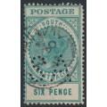AUSTRALIA / SA - 1904 6d blue-green Long Tom, thick POSTAGE, crown SA watermark, perf. SA, used – SG # 284