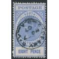AUSTRALIA / SA - 1905 8d bright ultramarine Long Tom, thick POSTAGE, crown SA watermark, used – SG # 285