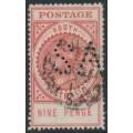 AUSTRALIA / SA - 1904 9d rosy-lake Long Tom, thick POSTAGE, crown SA watermark, perf. SA, used – SG # 286