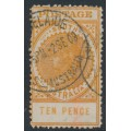 AUSTRALIA / SA - 1907 10d deep brownish orange Long Tom, thick POSTAGE, crown SA watermark, used – SG # 287