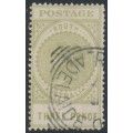 AUSTRALIA / SA - 1906 3d sage-green Long Tom, thick POSTAGE, crown A watermark, used – SG # 298