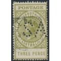 AUSTRALIA / SA - 1906 3d sage-green Long Tom, thick POSTAGE, crown A watermark, perf. SA, used – SG # 298