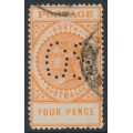 AUSTRALIA / SA - 1906 4d orange Long Tom, thick POSTAGE, crown A watermark, perf. OS, used – SG # 299a