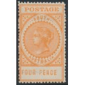 AUSTRALIA / SA - 1906 4d orange Long Tom, thick POSTAGE, crown A watermark, MH – SG # 299b