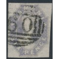 AUSTRALIA / TAS - 1863 6d grey-violet Chalon, imperf., '6' watermark, used – SG # 46