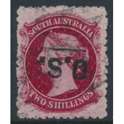 AUSTRALIA / SA - 1885 2/- rose-carmine QV Diadem, perf. 11½:11½, inverted OS overprint, used – SG # O29b