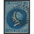 AUSTRALIA / SA - 1855 6d deep blue Queen Victoria [London printing], used – SG # 3