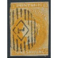 AUSTRALIA / SA - 1858 1/- orange Queen Victoria (Adelaide printing), used – SG # 12