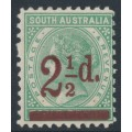 AUSTRALIA / SA - 1891 2½d on 4d pale green Queen Victoria, perf. 10:10, MH – SG # 229