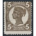 AUSTRALIA / QLD - 1909 5d sepia QV side-face, crown A watermark, MH – SG # 295a