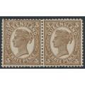 AUSTRALIA / QLD - 1898 3d brown QV side-face, crown Q watermark, horizontal pair, MH – SG # 240