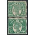 AUSTRALIA / QLD - 1895 ½d green & ½d deep green QV side-face, burelé band on back, MH – SG # 223+224
