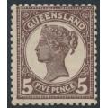 AUSTRALIA / QLD - 1895 5d purple-brown QV side-face, crown Q watermark, MH – SG # 215