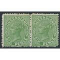 AUSTRALIA / QLD - 1882 6d green QV side-face, perf. 12:12, crown Q watermark, horizontal pair, MH – SG # 170