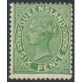 AUSTRALIA / QLD - 1890 6d green QV side-face, perf. 13:13, crown Q watermark, MH – SG # 196