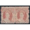 AUSTRALIA / QLD - 1874 1d pale rose-red QV Diadem, perf. 13:13, crown Q watermark, pair, MH – SG # 84