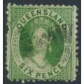 AUSTRALIA / QLD - 1874 6d green QV Diadem, perf. 12:12, truncated star watermark, used – SG # 78