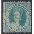 AUSTRALIA / QLD - 1867 2d blue QV Diadem, perf. 13:13, no watermark, used – SG # 38